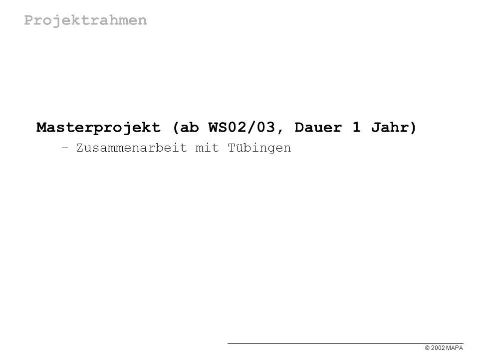 © 2002 MAPA Projektrahmen Masterprojekt (ab WS02/03, Dauer 1 Jahr) –Zusammenarbeit mit Tübingen