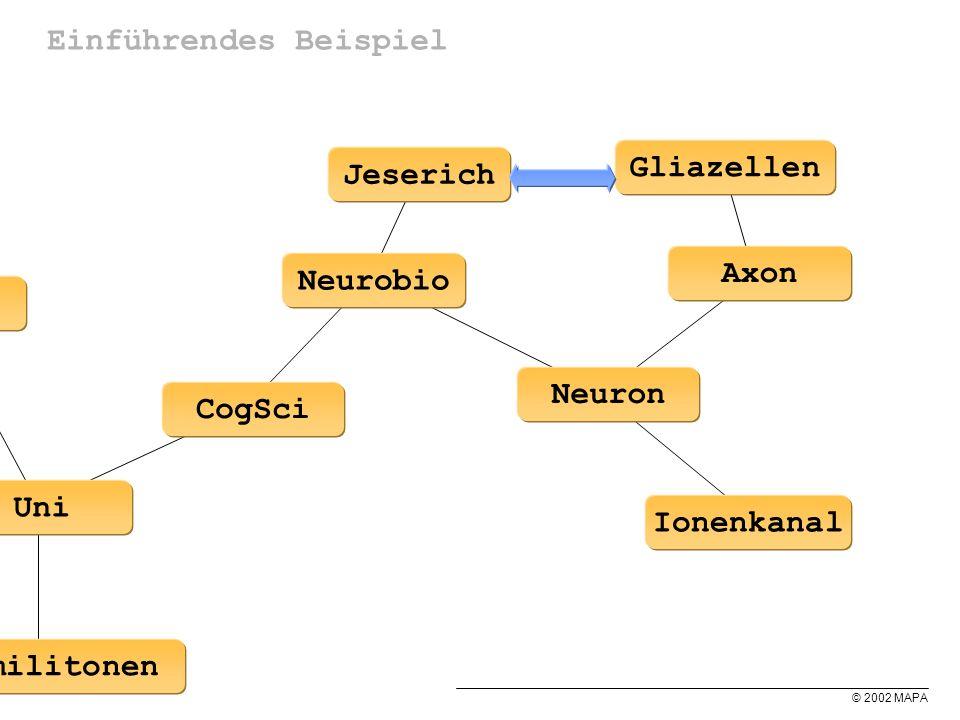 © 2002 MAPA Einführendes Beispiel HiWi Kommilitonen Uni CogSci Neurobio Tutor AI Geld Jeserich Neuron Ionenkanal Axon Gliazellen
