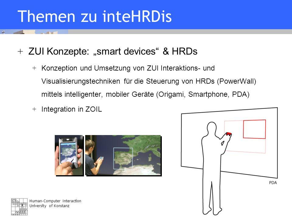 Human-Computer Interaction University of Konstanz Folie 16 07/21/06 Themen zu inteHRDis + ZUI Konzepte: smart devices & HRDs + Konzeption und Umsetzun