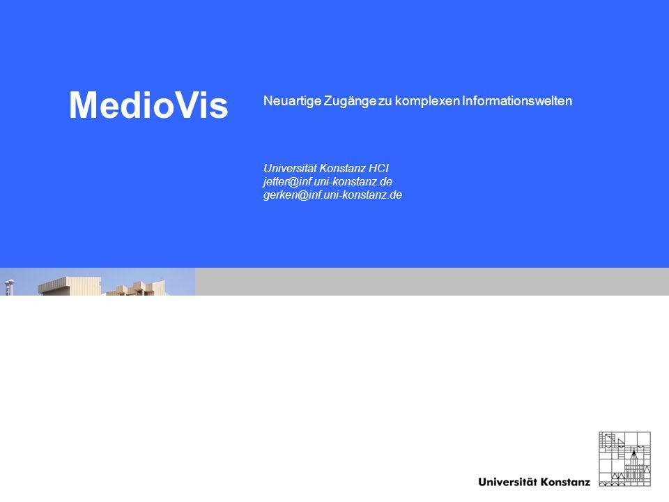 Human-Computer Interaction University of Konstanz Folie 18 07/21/06 ZuiScat Neuartige Zugänge zu komplexen Informationswelten MedioVis Universität Kon
