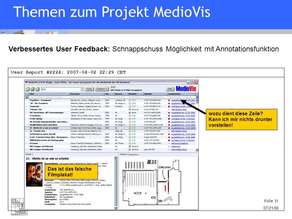 Human-Computer Interaction University of Konstanz Folie 31 07/21/06 Verbessertes User Feedback: Schnappschuss Möglichkeit mit Annotationsfunktion wozu