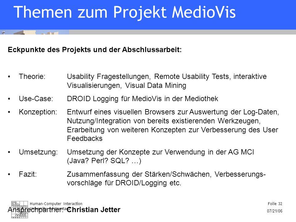Human-Computer Interaction University of Konstanz Folie 32 07/21/06 Themen zum Projekt MedioVis Eckpunkte des Projekts und der Abschlussarbeit: Theori