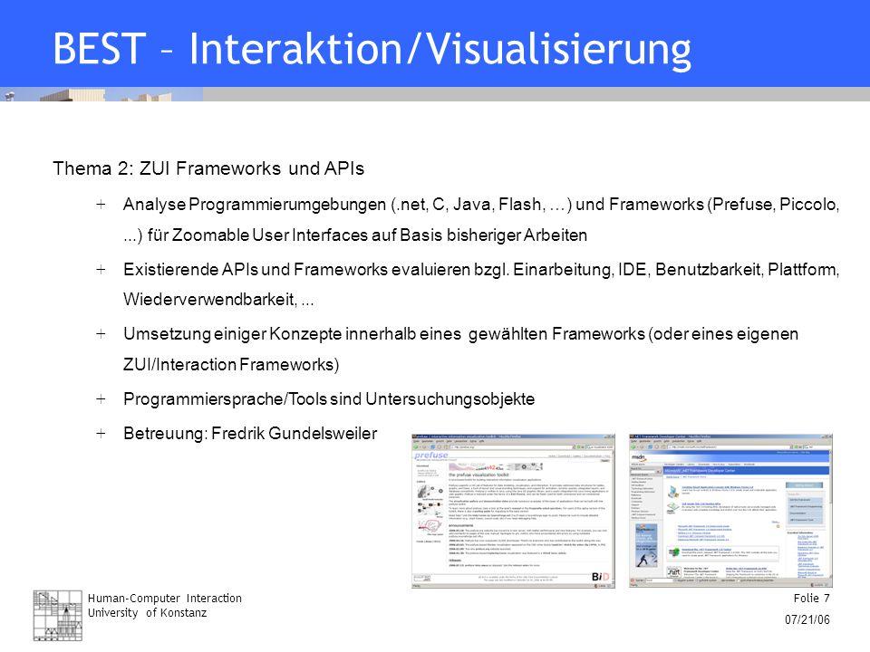Human-Computer Interaction University of Konstanz Folie 7 07/21/06 BEST – Interaktion/Visualisierung Thema 2: ZUI Frameworks und APIs + Analyse Progra