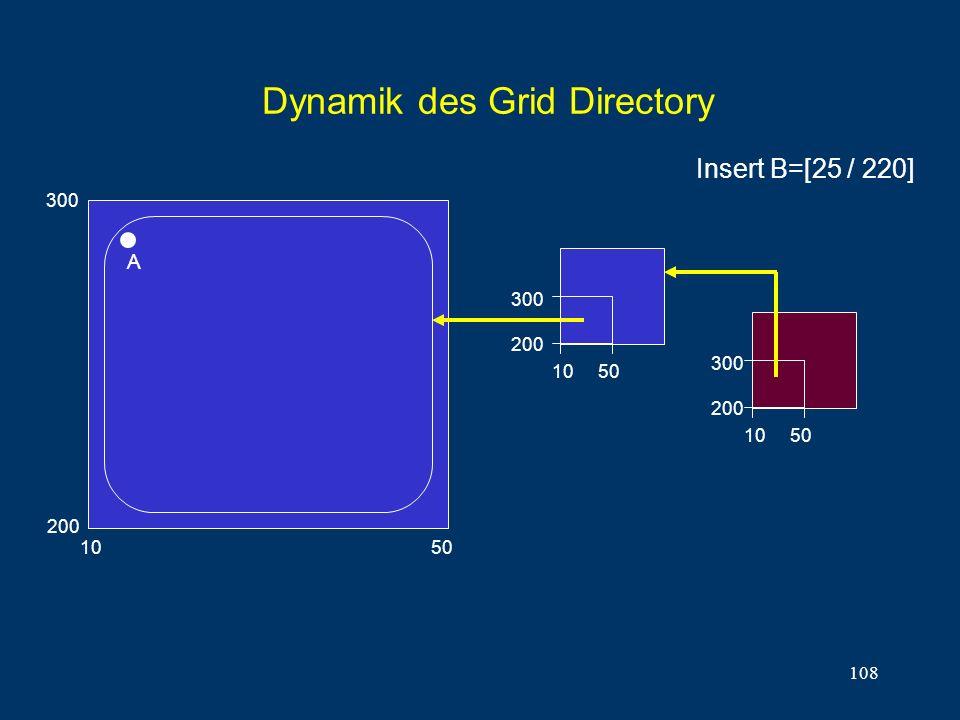 108 Dynamik des Grid Directory 10 50 300 200 A 10 50 300 200 300 200 10 50 Insert B=[25 / 220]