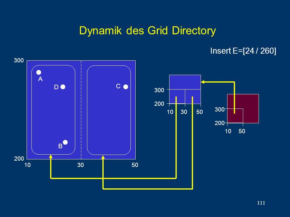 111 Dynamik des Grid Directory 300 200 10 30 50 300 200 A B C 10 50 300 200 D 10 30 50 Insert E=[24 / 260]