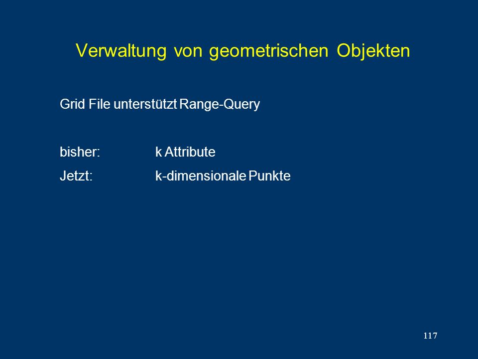 117 Verwaltung von geometrischen Objekten Grid File unterstützt Range-Query bisher:k Attribute Jetzt:k-dimensionale Punkte