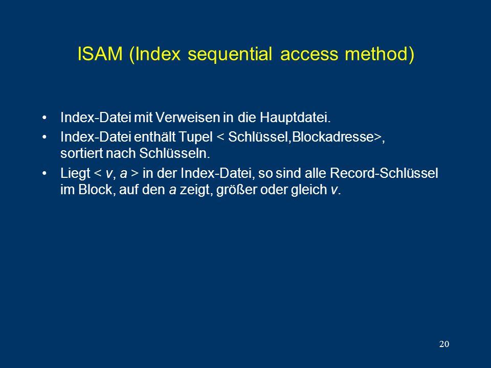 20 ISAM (Index sequential access method) Index-Datei mit Verweisen in die Hauptdatei. Index-Datei enthält Tupel, sortiert nach Schlüsseln. Liegt in de