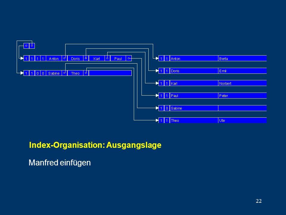 22 Manfred einfügen Index-Organisation: Ausgangslage