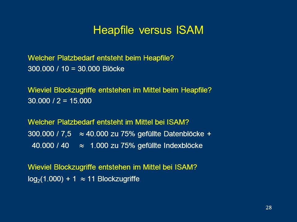 28 Heapfile versus ISAM Welcher Platzbedarf entsteht beim Heapfile? 300.000 / 10 = 30.000 Blöcke Wieviel Blockzugriffe entstehen im Mittel beim Heapfi