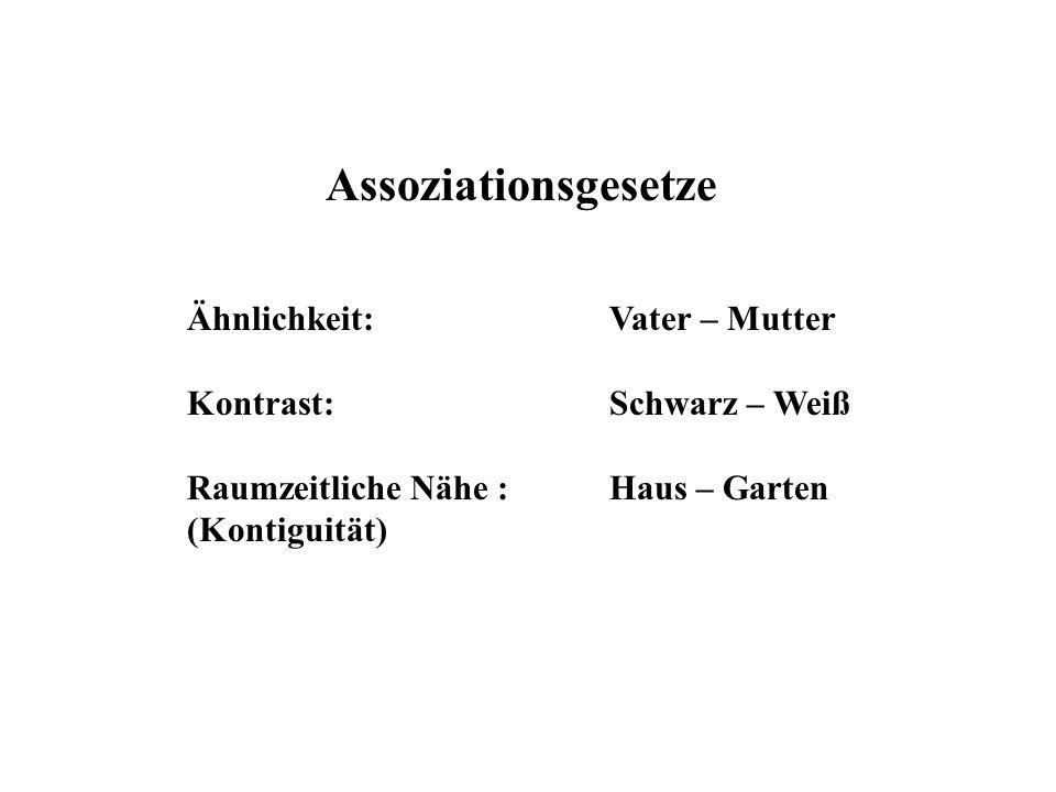 Assoziationsgesetze Ähnlichkeit: Vater – Mutter Kontrast:Schwarz – Weiß Raumzeitliche Nähe : Haus – Garten (Kontiguität)