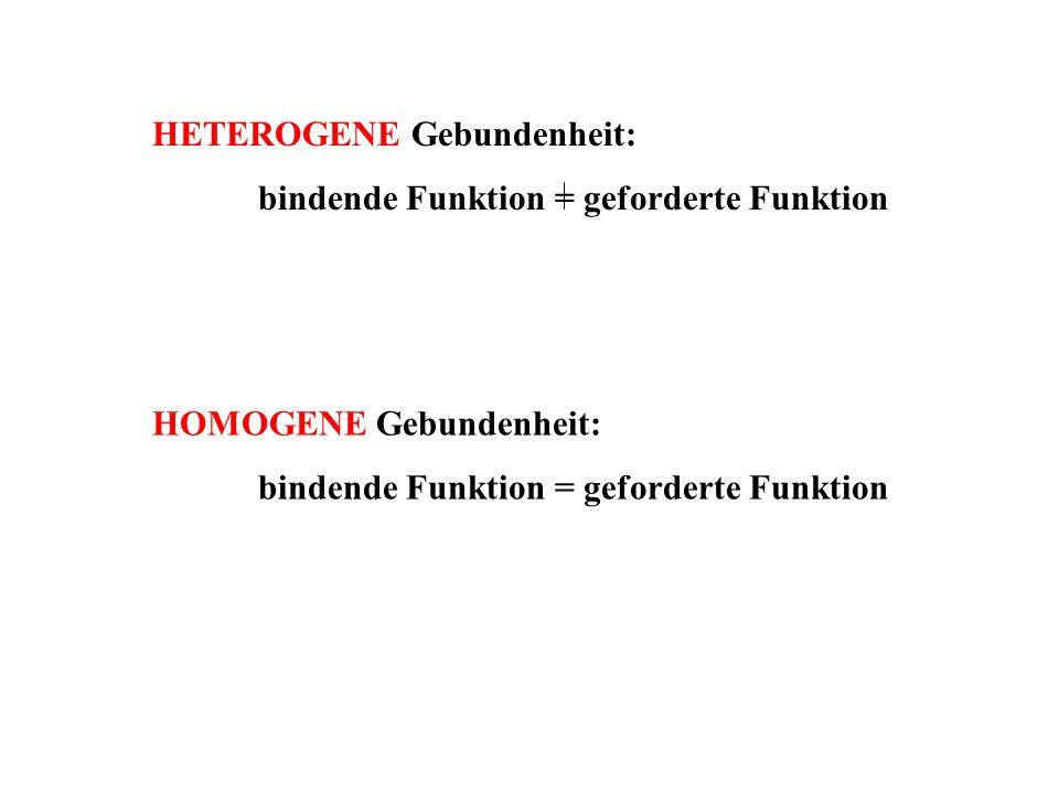 HETEROGENE Gebundenheit: bindende Funktion = geforderte Funktion HOMOGENE Gebundenheit: bindende Funktion = geforderte Funktion