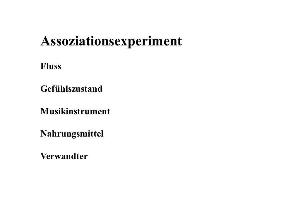 Assoziationsexperiment Fluss Gefühlszustand Musikinstrument Nahrungsmittel Verwandter