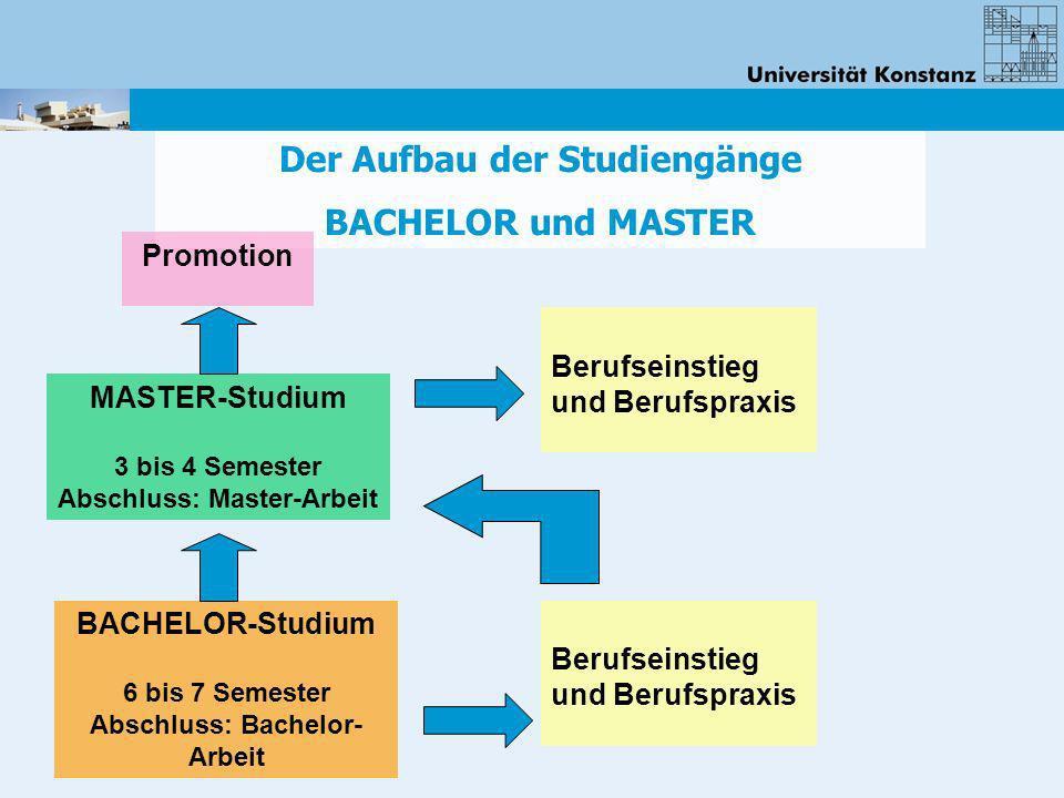 Der Aufbau der Studiengänge BACHELOR und MASTER Berufseinstieg und Berufspraxis BACHELOR-Studium 6 bis 7 Semester Abschluss: Bachelor- Arbeit MASTER-S