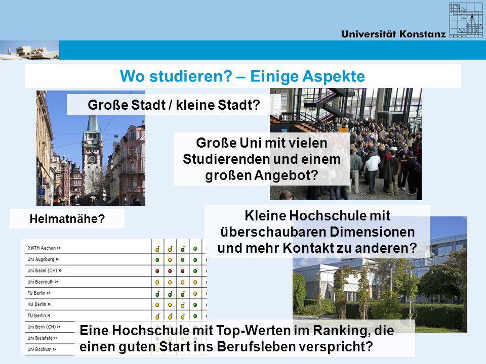 Wo studieren? – Einige Aspekte Eine Hochschule mit Top-Werten im Ranking, die einen guten Start ins Berufsleben verspricht? Große Stadt / kleine Stadt