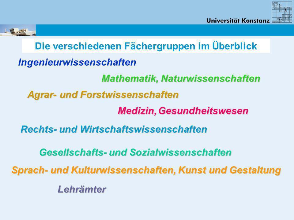 Agrar- und Forstwissenschaften Die verschiedenen Fächergruppen im Überblick Ingenieurwissenschaften Mathematik, Naturwissenschaften Medizin, Gesundhei
