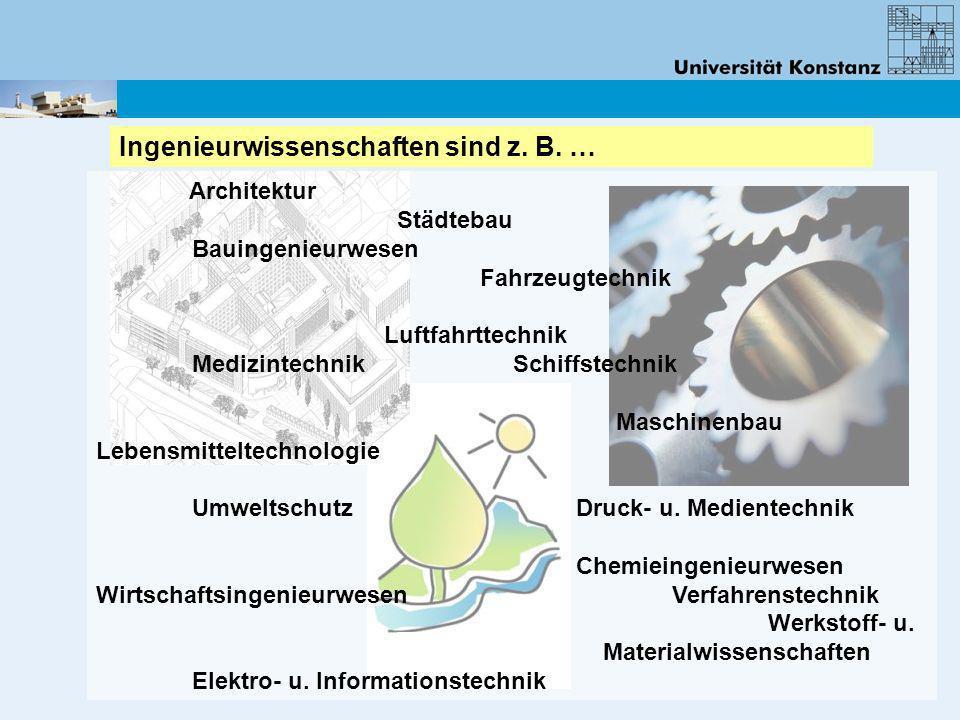 Architektur Städtebau Bauingenieurwesen Fahrzeugtechnik Luftfahrttechnik Medizintechnik Schiffstechnik Maschinenbau Lebensmitteltechnologie Umweltschu