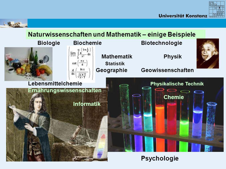 Biologie Biochemie Biotechnologie MathematikPhysik Statistik Geographie Geowissenschaften Lebensmittelchemie Physikalische Technik Ernährungswissensch
