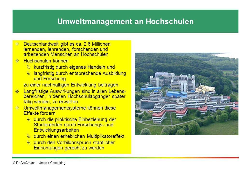 © Dr.Größmann - Umwelt-Consulting Umweltmanagement an Hochschulen Deutschlandweit gibt es ca. 2,6 Millionen lernenden, lehrenden, forschenden und arbe
