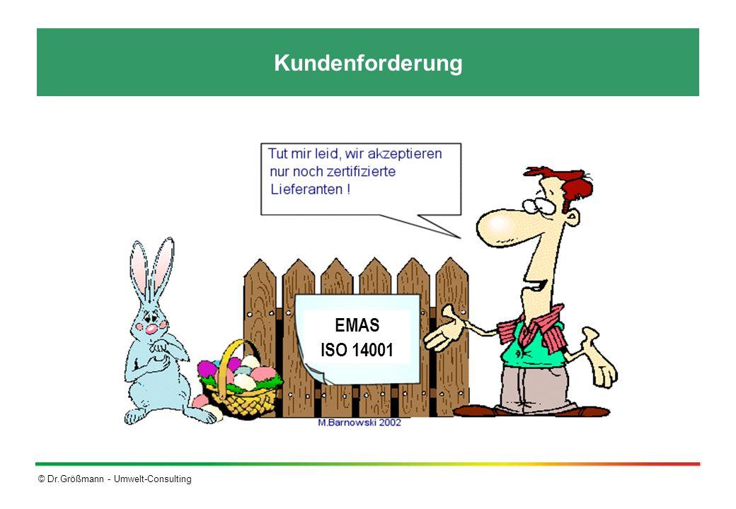© Dr.Größmann - Umwelt-Consulting EMAS ISO 14001 Unterschiede zwischen EMAS und ISO 14001 Die ISO 14001 ist integraler Bestandteil von EMAS (Teilmenge) Die Forderungen von EMAS gehen über die der ISO-Norm hinaus: Erfüllen der umweltrechtlichen Vorschriften ist Mindestvoraussetzung Begrenzen der tatsächlichen Umweltauswirkungen Führen eines offenen Dialogs mit externen interessierten Kreisen (Stakeholder) Beteiligen der Mitarbeiter am Umweltmanagement- system (z.B.
