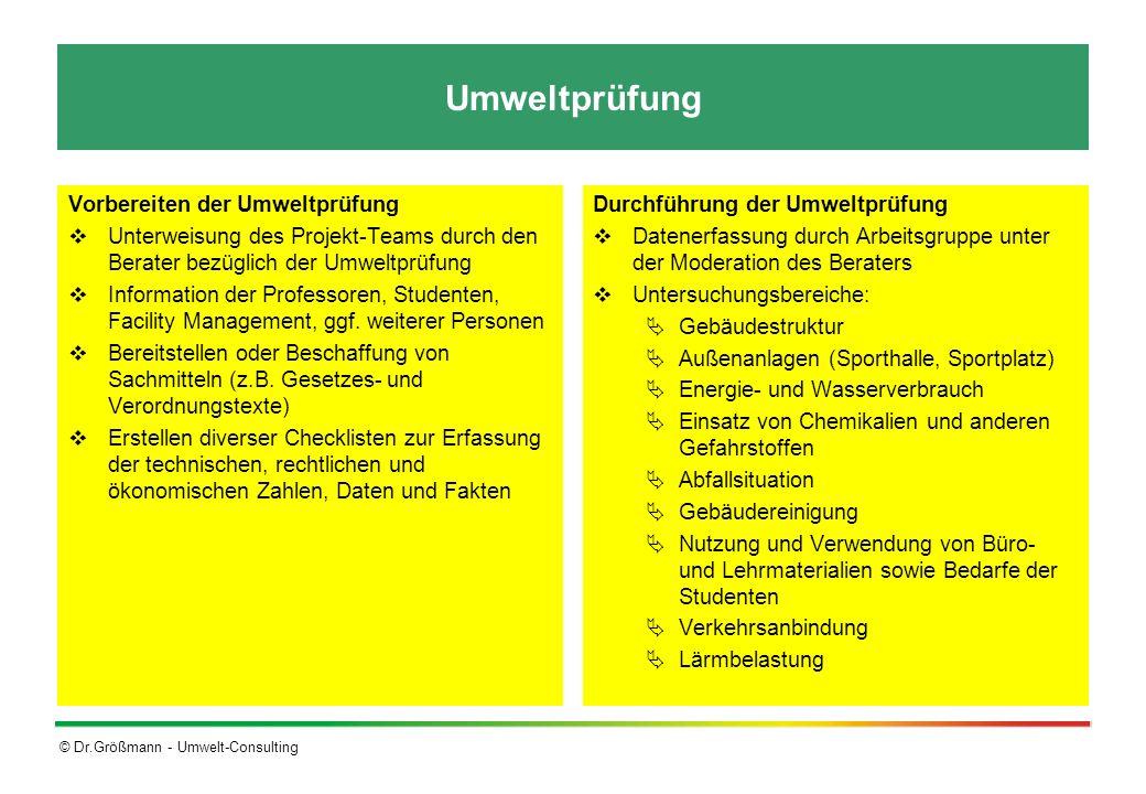 © Dr.Größmann - Umwelt-Consulting Umweltprüfung Vorbereiten der Umweltprüfung Unterweisung des Projekt-Teams durch den Berater bezüglich der Umweltprü