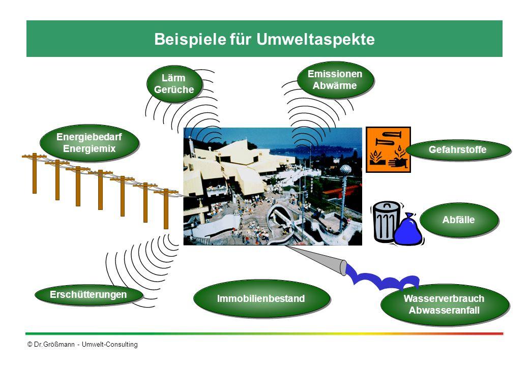 © Dr.Größmann - Umwelt-Consulting Beispiele für Umweltaspekte Wasserverbrauch Abwasseranfall Wasserverbrauch Abwasseranfall Immobilienbestand Abfälle