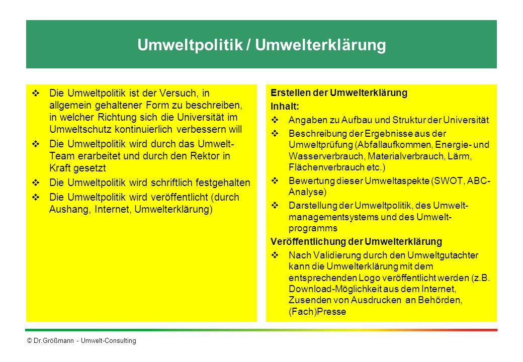 © Dr.Größmann - Umwelt-Consulting Umweltpolitik / Umwelterklärung Die Umweltpolitik ist der Versuch, in allgemein gehaltener Form zu beschreiben, in w