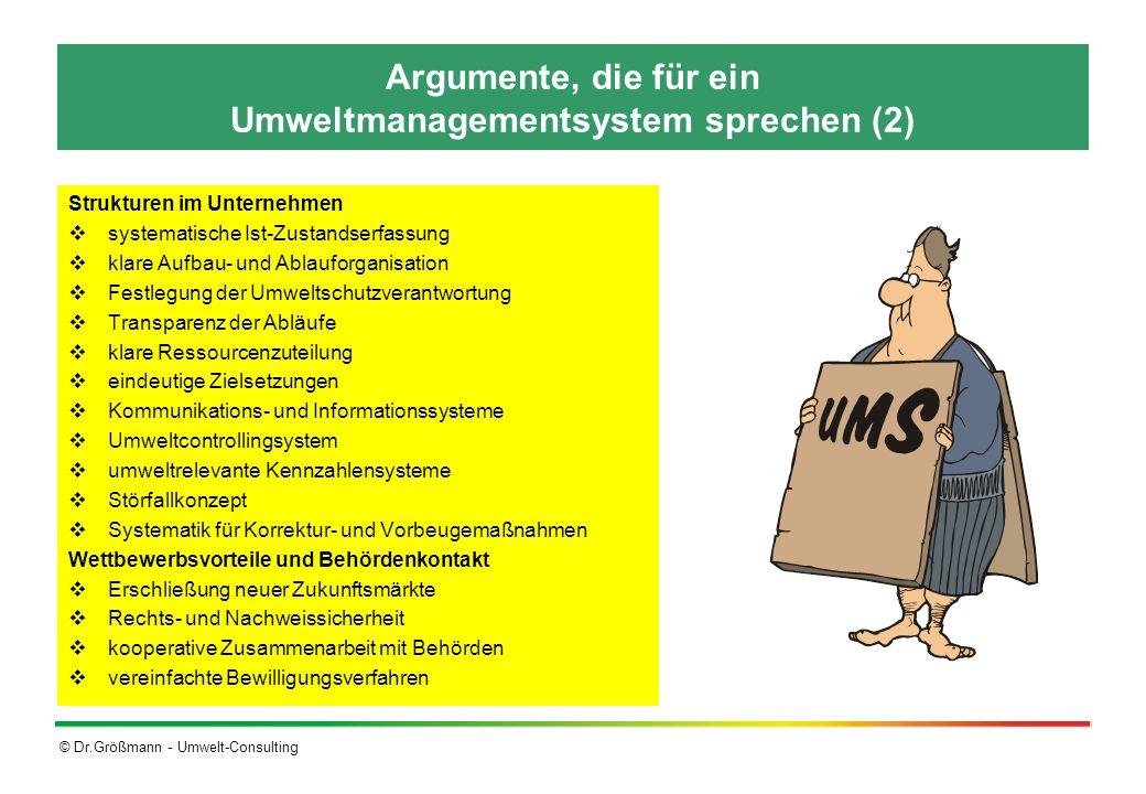 © Dr.Größmann - Umwelt-Consulting Argumente, die für ein Umweltmanagementsystem sprechen (2) Strukturen im Unternehmen systematische Ist-Zustandserfas