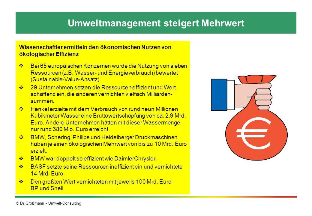 © Dr.Größmann - Umwelt-Consulting Umweltmanagement steigert Mehrwert Bei 65 europäischen Konzernen wurde die Nutzung von sieben Ressourcen (z.B. Wasse