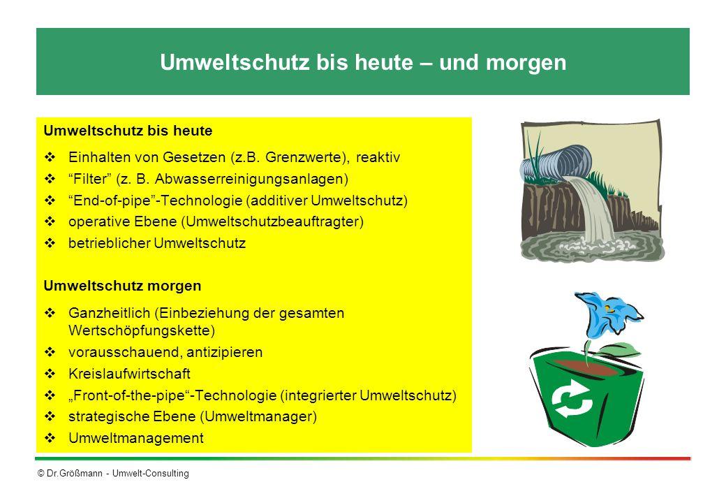 © Dr.Größmann - Umwelt-Consulting Umweltschutz bis heute – und morgen Umweltschutz bis heute Einhalten von Gesetzen (z.B. Grenzwerte), reaktiv Filter