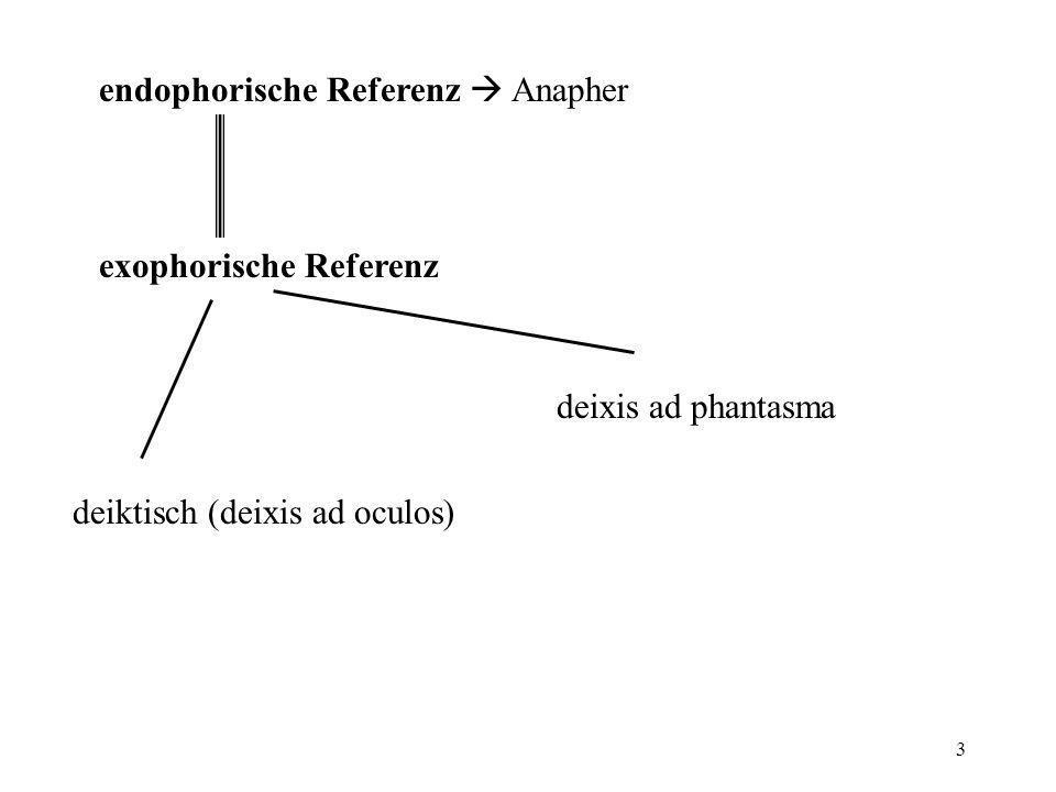 3 endophorische Referenz Anapher exophorische Referenz deiktisch (deixis ad oculos) deixis ad phantasma