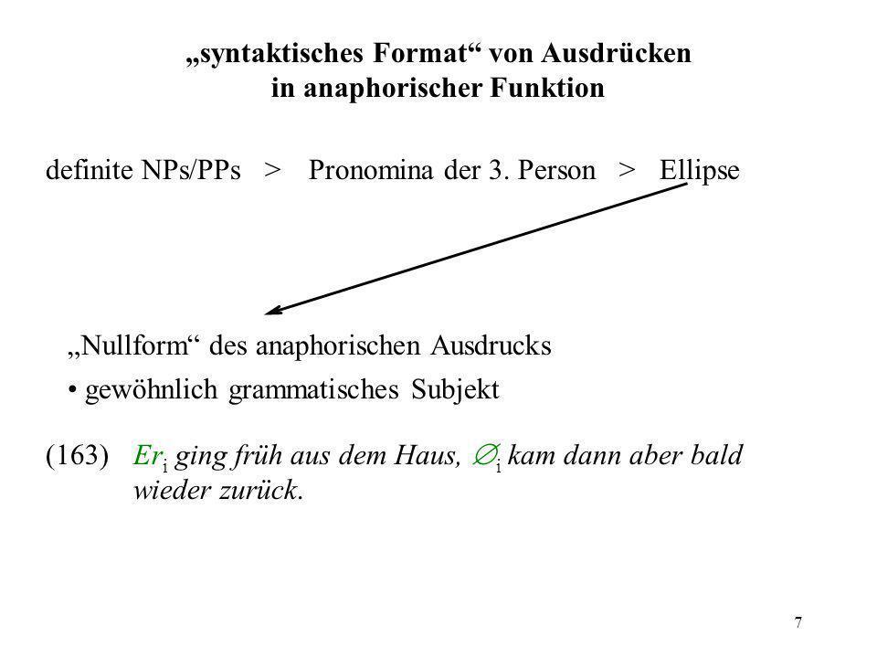 7 syntaktisches Format von Ausdrücken in anaphorischer Funktion definite NPs/PPs >Pronomina der 3. Person >Ellipse Nullform des anaphorischen Ausdruck