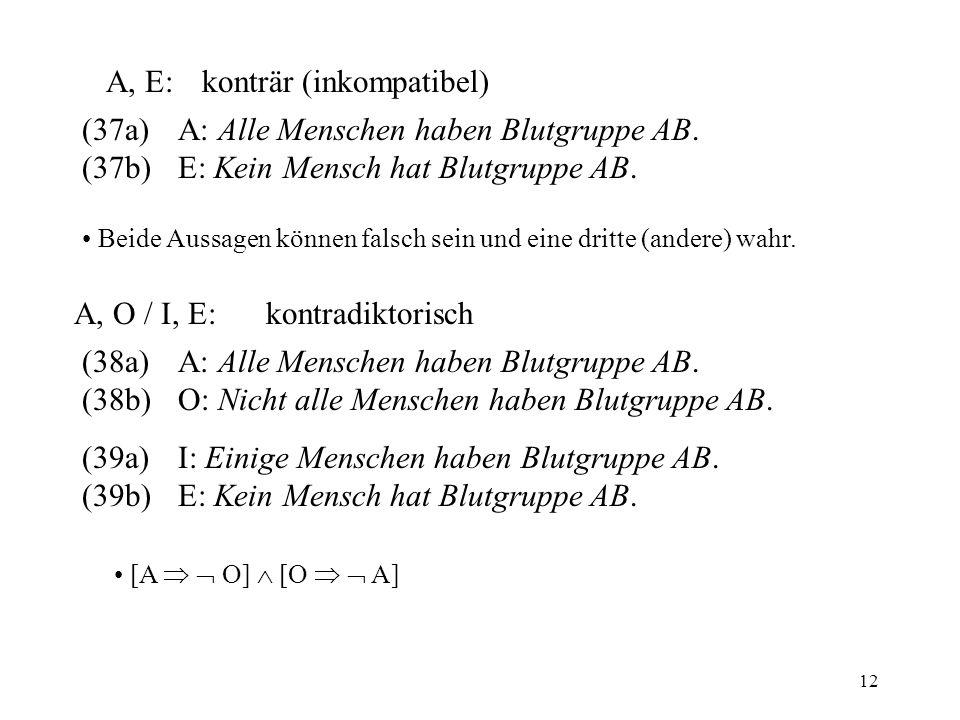 12 A, E:konträr (inkompatibel) (37a)A: Alle Menschen haben Blutgruppe AB.