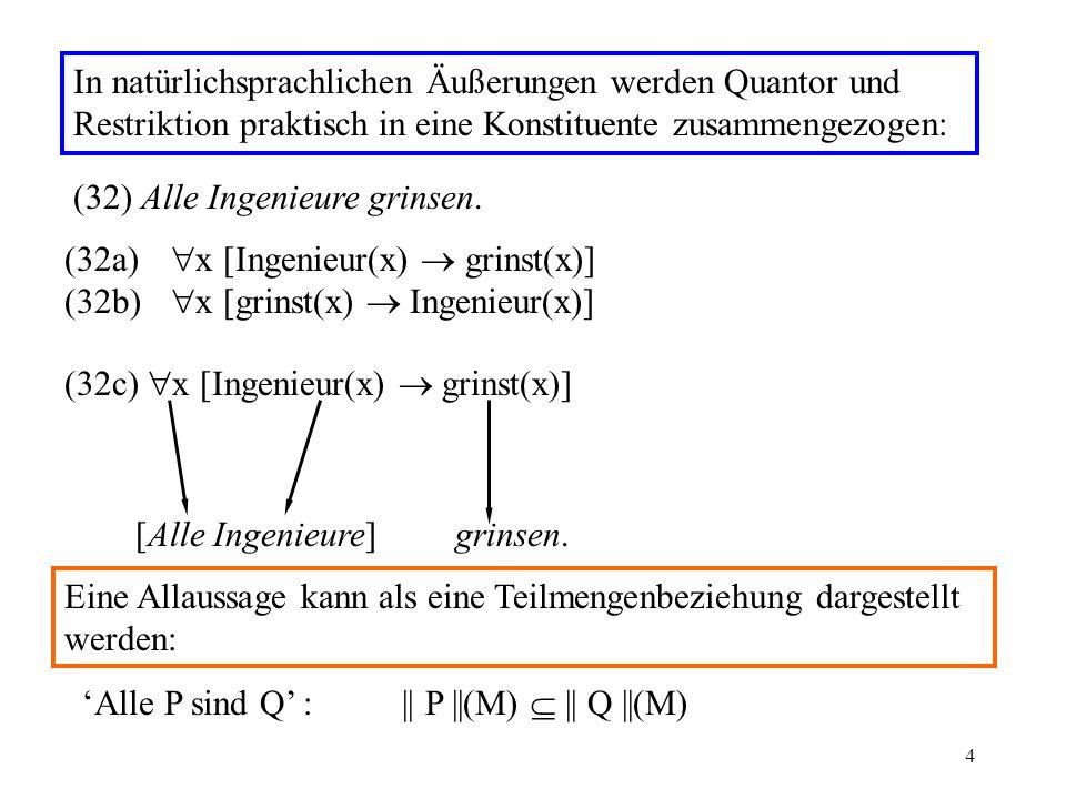 4 In natürlichsprachlichen Äußerungen werden Quantor und Restriktion praktisch in eine Konstituente zusammengezogen: (32) Alle Ingenieure grinsen.