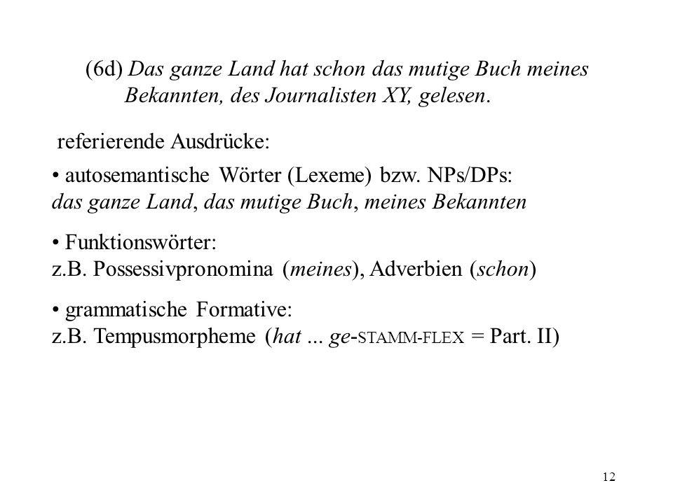 12 (6d) Das ganze Land hat schon das mutige Buch meines Bekannten, des Journalisten XY, gelesen. referierende Ausdrücke: autosemantische Wörter (Lexem