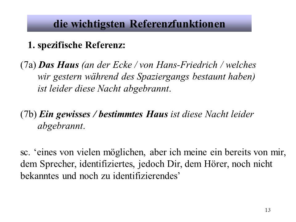 13 die wichtigsten Referenzfunktionen 1. spezifische Referenz: (7a) Das Haus (an der Ecke / von Hans-Friedrich / welches wir gestern während des Spazi