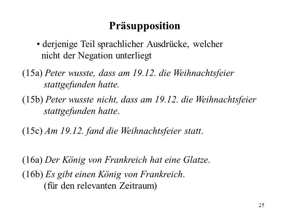 25 Präsupposition derjenige Teil sprachlicher Ausdrücke, welcher nicht der Negation unterliegt (15a) Peter wusste, dass am 19.12. die Weihnachtsfeier