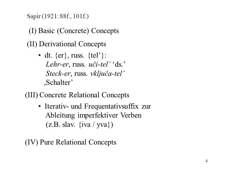 4 Sapir (1921: 88f., 101f.) (I) Basic (Concrete) Concepts (II) Derivational Concepts dt. {er}, russ. {tel}: Lehr-er, russ. uči-tel ds. Steck-er, russ.