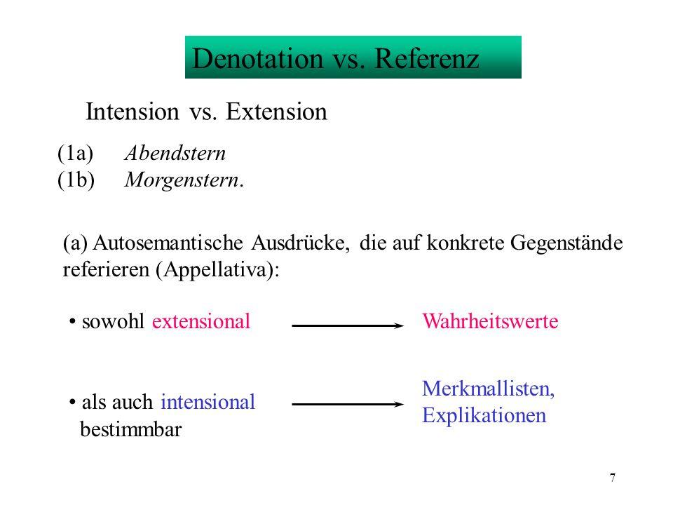 7 Denotation vs. Referenz Intension vs. Extension (1a)Abendstern (1b)Morgenstern. (a) Autosemantische Ausdrücke, die auf konkrete Gegenstände referier