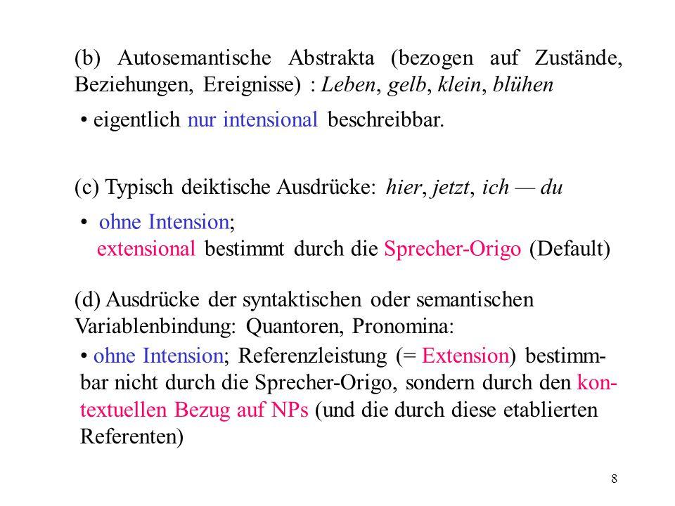 8 (b) Autosemantische Abstrakta (bezogen auf Zustände, Beziehungen, Ereignisse) : Leben, gelb, klein, blühen (c) Typisch deiktische Ausdrücke: hier, j