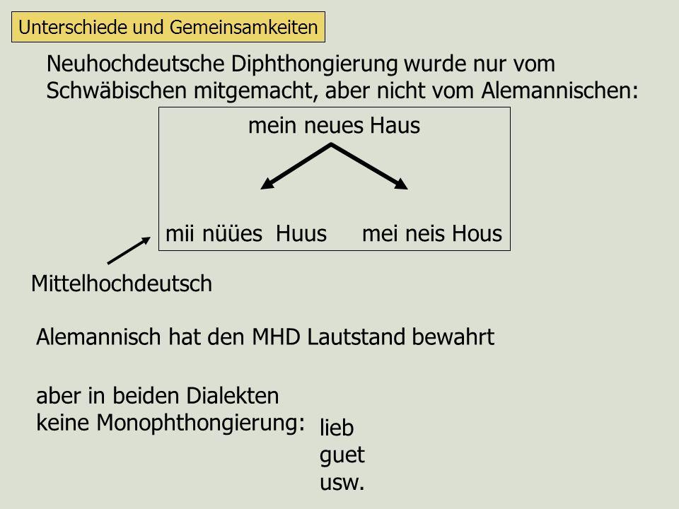 Morphologie (Wortbildung) Unterschiede und Gemeinsamkeiten gwäa/gsii nab abi rab abe hin + ab + hin her + ab + her entspricht in etwa der heutigen Einteilung zwischen Baden und Württemberg aber: diese Linie verläuft ganz anders...