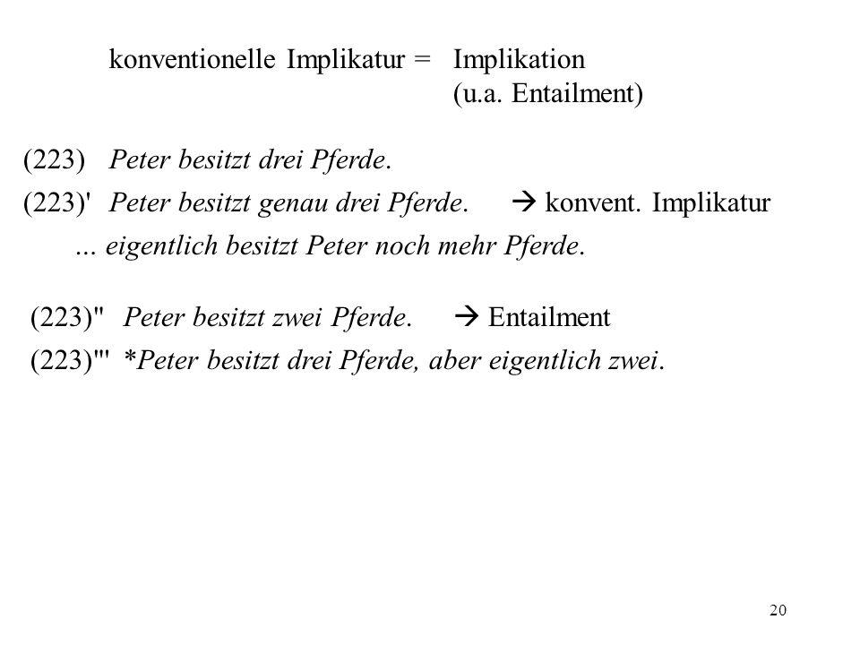 20 konventionelle Implikatur = Implikation (u.a. Entailment) (223)Peter besitzt drei Pferde. … eigentlich besitzt Peter noch mehr Pferde. (223)'Peter