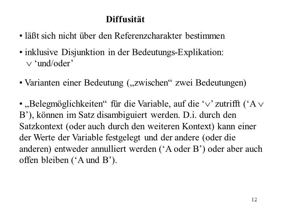 12 Diffusität läßt sich nicht über den Referenzcharakter bestimmen inklusive Disjunktion in der Bedeutungs-Explikation: und/oder Varianten einer Bedeu