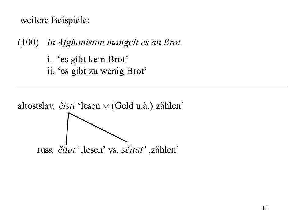 14 weitere Beispiele: (100)In Afghanistan mangelt es an Brot. i. es gibt kein Brot ii. es gibt zu wenig Brot altostslav. čisti lesen (Geld u.ä.) zähle