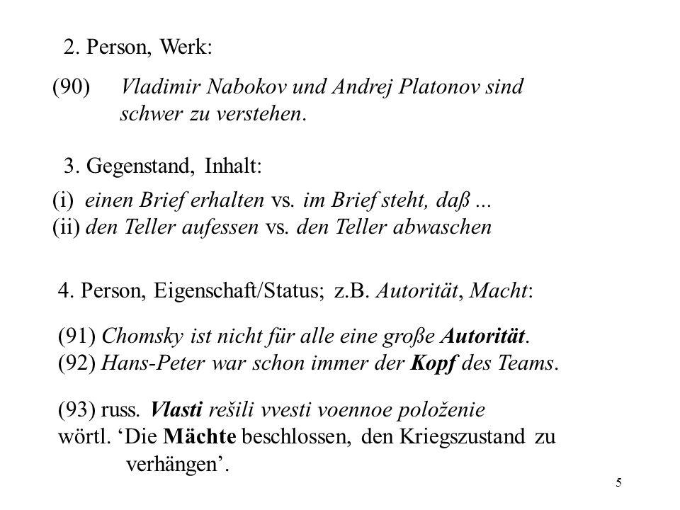 5 2. Person, Werk: (90) Vladimir Nabokov und Andrej Platonov sind schwer zu verstehen. (i) einen Brief erhalten vs. im Brief steht, daß... (ii) den Te