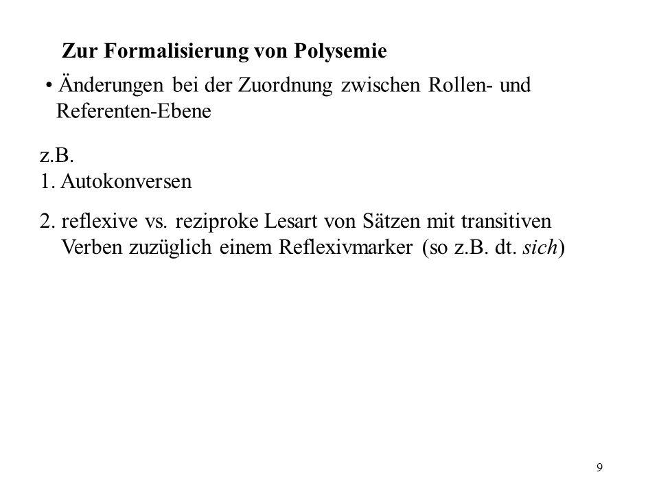 9 Zur Formalisierung von Polysemie Änderungen bei der Zuordnung zwischen Rollen- und Referenten-Ebene z.B. 1. Autokonversen 2. reflexive vs. reziproke