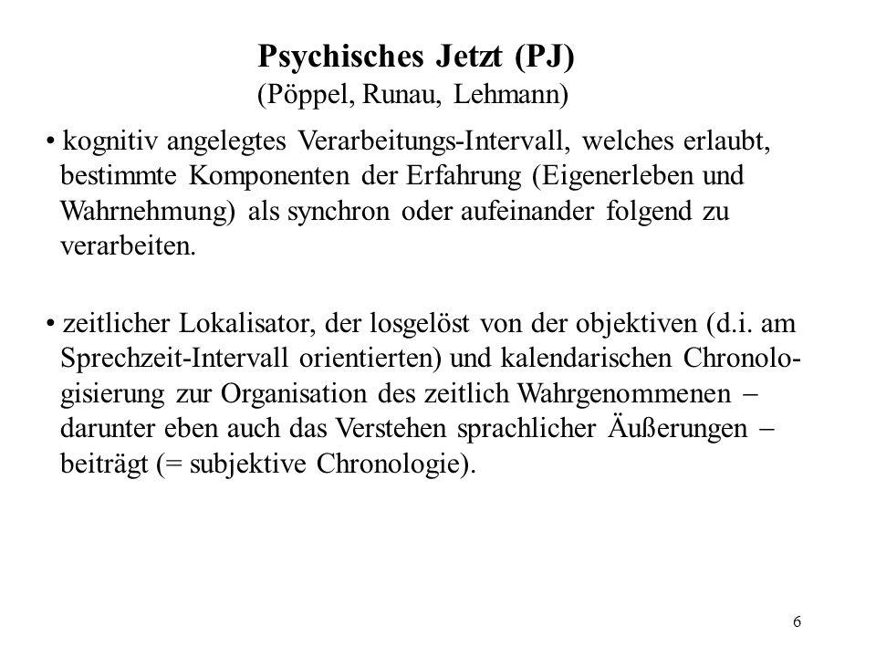 6 Psychisches Jetzt (PJ) (Pöppel, Runau, Lehmann) kognitiv angelegtes Verarbeitungs-Intervall, welches erlaubt, bestimmte Komponenten der Erfahrung (Eigenerleben und Wahrnehmung) als synchron oder aufeinander folgend zu verarbeiten.