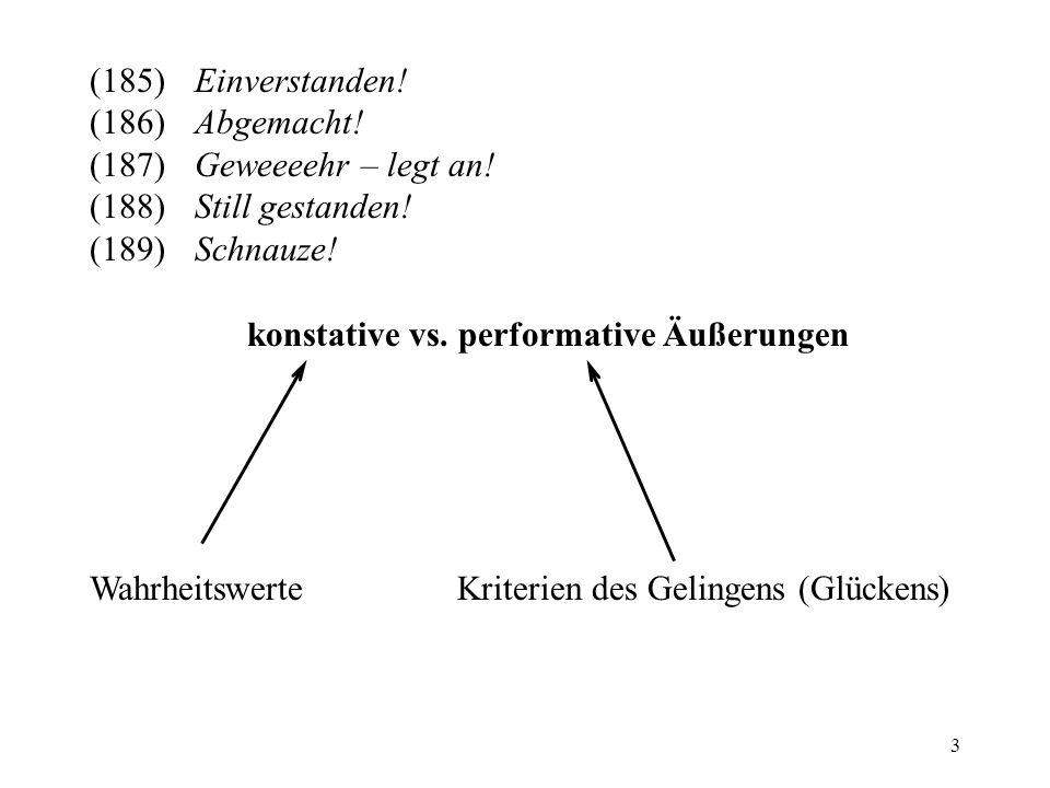 3 konstative vs. performative Äußerungen (185)Einverstanden! (186)Abgemacht! (187)Geweeeehr – legt an! (188)Still gestanden! (189)Schnauze! Wahrheitsw