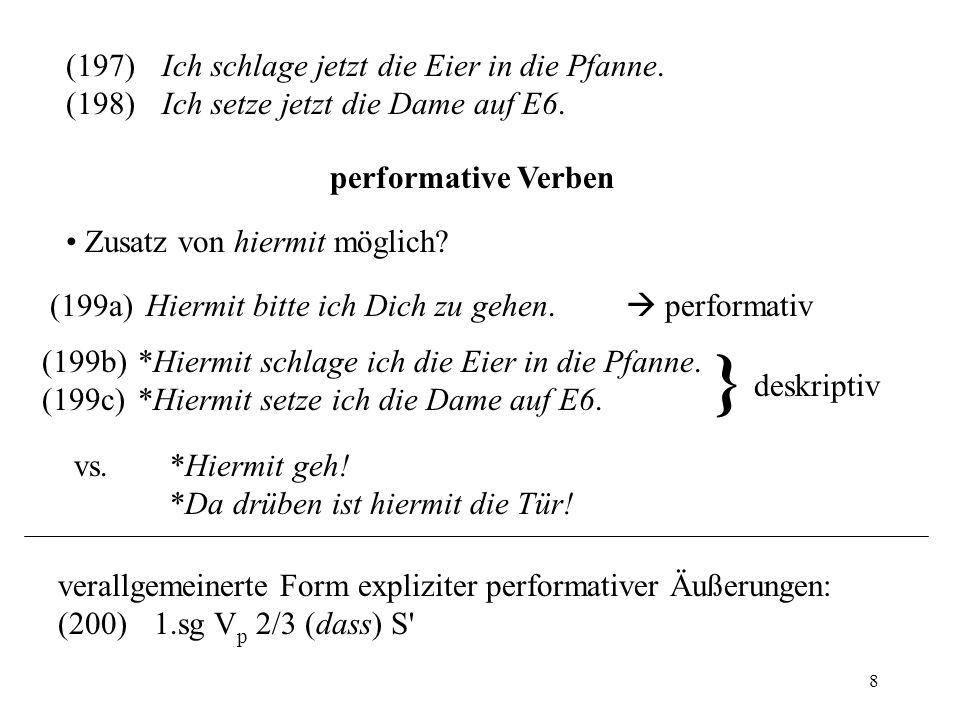 8 (197)Ich schlage jetzt die Eier in die Pfanne. (198)Ich setze jetzt die Dame auf E6. performative Verben Zusatz von hiermit möglich? (199a)Hiermit b