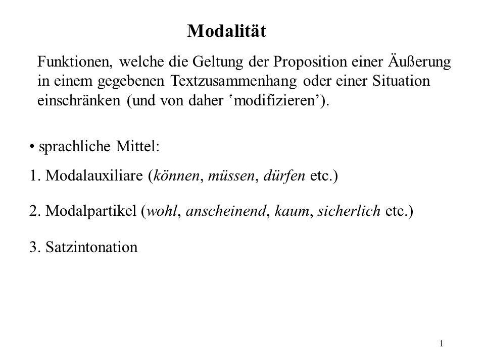 1 Modalität Funktionen, welche die Geltung der Proposition einer Äußerung in einem gegebenen Textzusammenhang oder einer Situation einschränken (und von daher modifizieren).