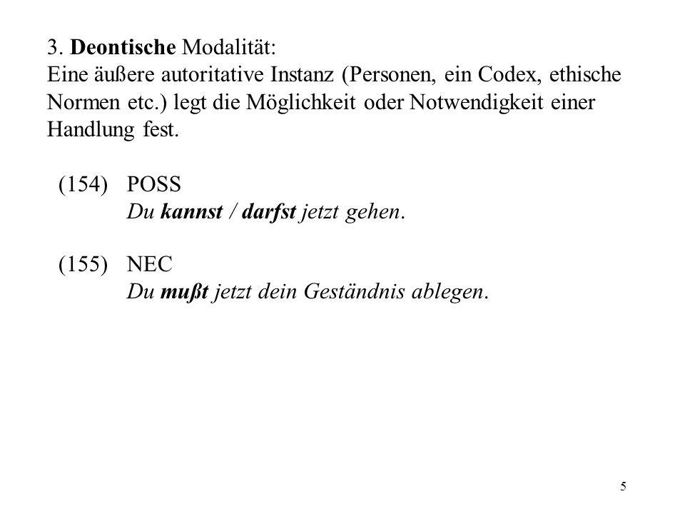 6 Alethische und deontische Modalität: extern in bezug auf den Referenten (participant-external modality) zusammen mit dem Bereich der Fähigkeiten zusammenfaßbar als dynamische Modalität 1.